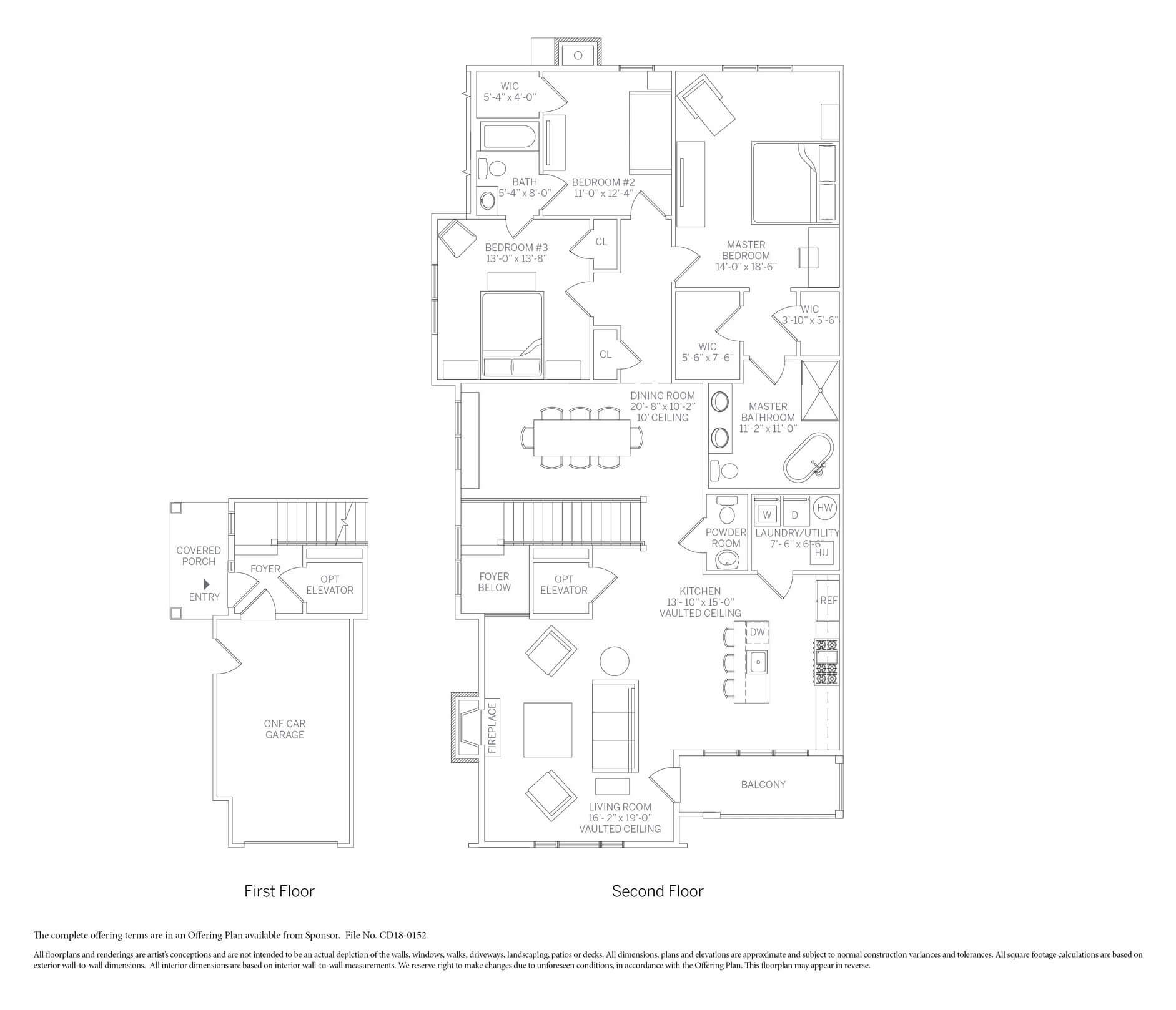 The Chesapeake coach home floor plan at Kensington Estates in Woodbury NY. Call for availability!